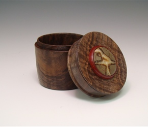 Threaded box-Black walnut with Redheart and Jasper inlay